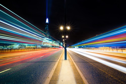 London-bridge-night-cityscape-shard-building-lazer-lights-car-trails