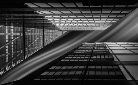 Modern office buildings long exposure building fine art architectural black and white