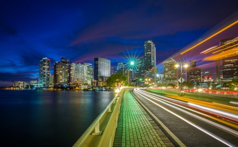 car light trails Brickell Key Miami architecture