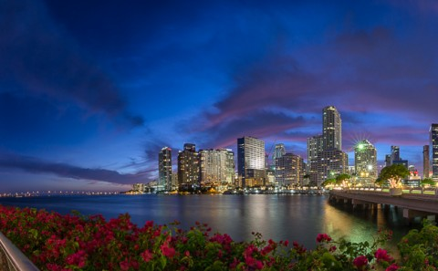 brick ell Key and Downtown Miami panorama at night architecture