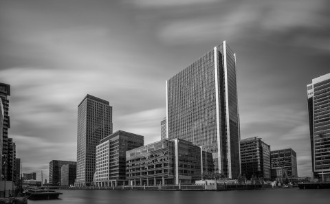 long exposure canary wharf docklands building fine art architectural black and white