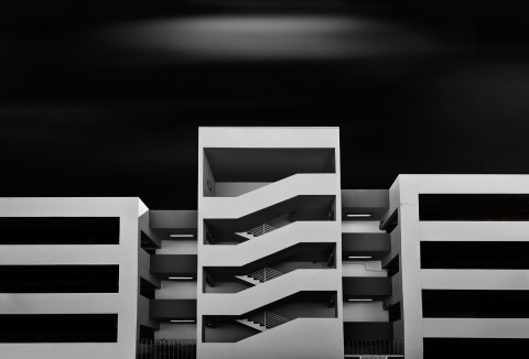 car park long exposure building fine art architecture black and white