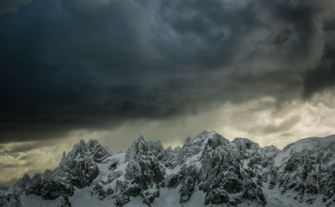 storm clouds over Chammonix mountains in the Alps