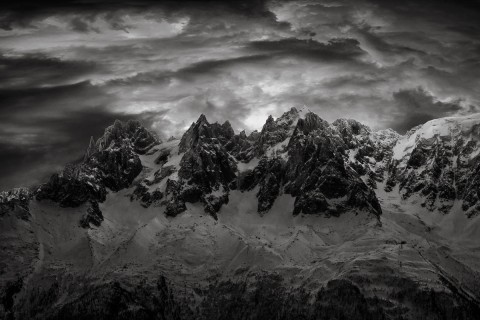 Alps Chammonix mountains storm clouds black and white