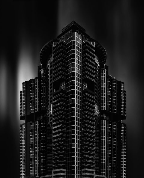 long exposure condo apartment building fine art architecture black and white