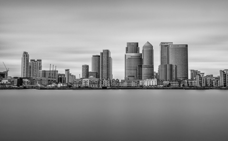 Docklands Canary Wharf skyline London long exposure building fine art architectural black and white