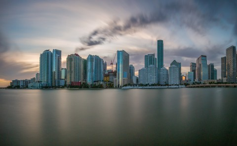 downtown miami florida long exposure key biscayne architecture