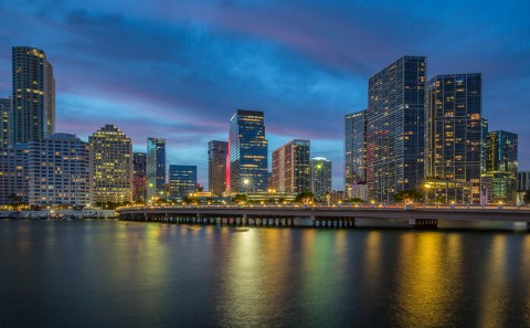 downtown miami florida at night blue hour architecture