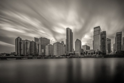 long exposure downtown miami florida fine art architecture black and white