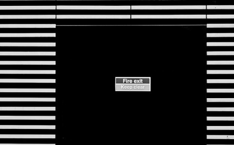 minimal architecture fire exit black and white
