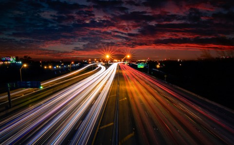 freeway motorway car traffic light trails at sunset I95 Florida USA