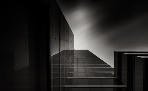 long exposure glass office building fine art architecture black and white