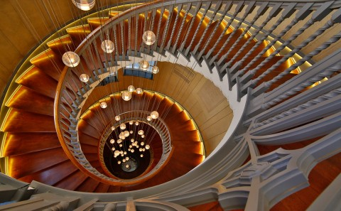 spiral staircase Heals Department Store London UK