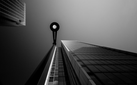 street lamp long exposure glass office building fine art architecture black and white