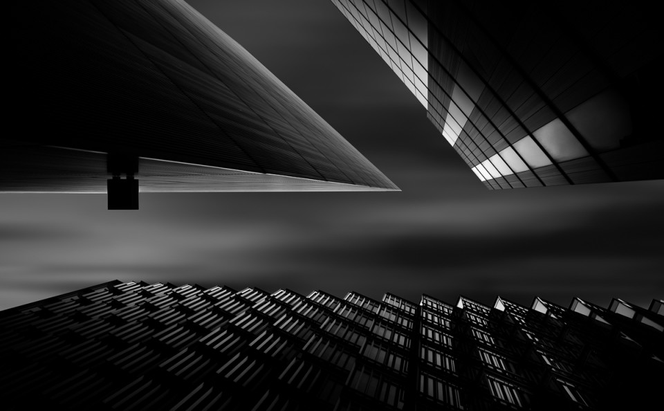 triangle modern building long exposure building fine art architectural black and white
