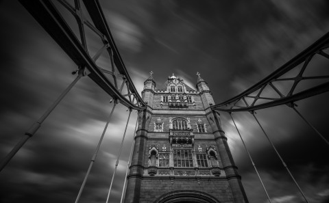 London Tower Bridge Long Exposure black and white architecture