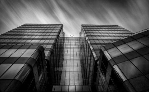Modern office building docklands long exposure building fine art architectural black and white