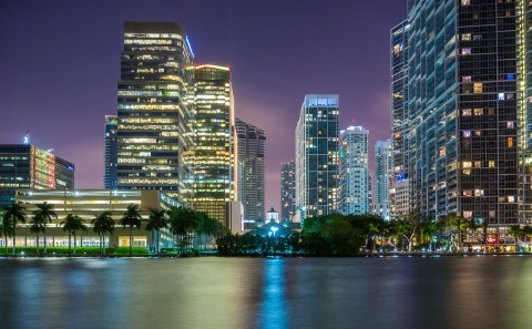 architecture downtown miami buildings at night from Bricell Key