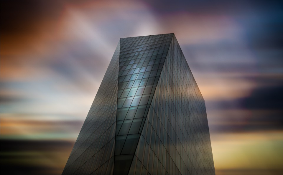 sunset color long exposure glass office building fine art architecture