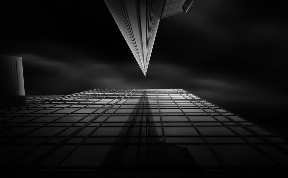 office buildings triangular long exposure fine art architect black and white