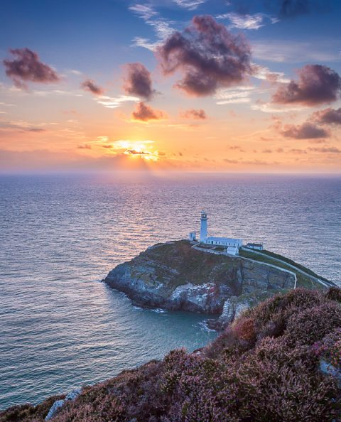South Stack Lighthouse in Anglesey Wales at sunset