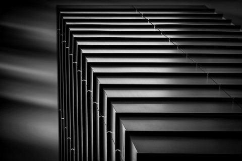 square metal building long exposure building fine art architectural black and white