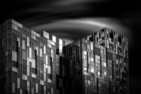 square patterned building long exposure building fine art architectural black and white