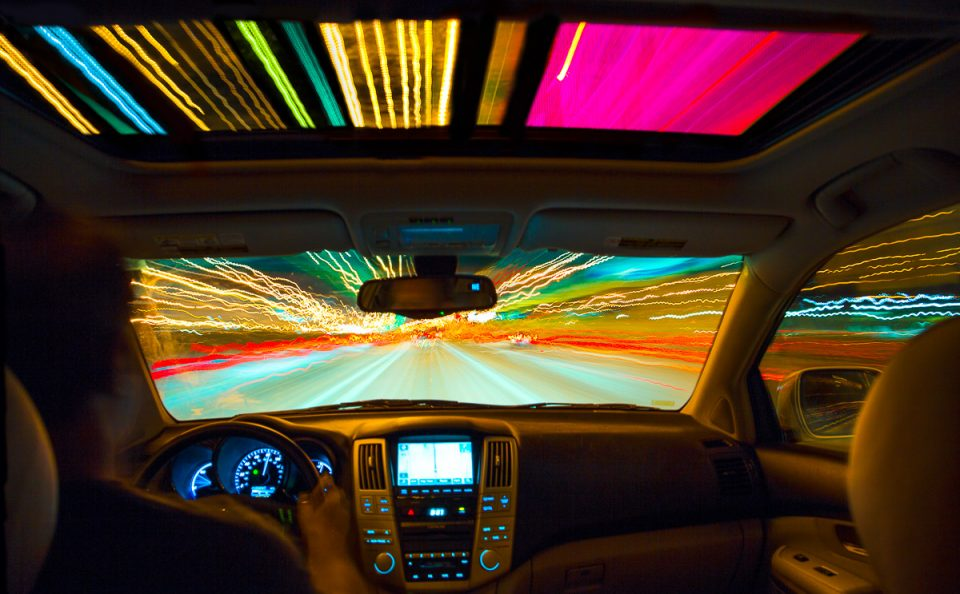 Driving-night-car-light-trails-highway