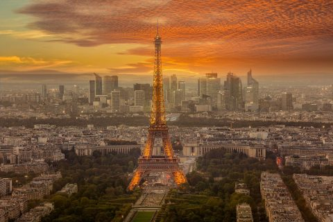 Paris La Defense and Eiffel Tower at sunset ights view from Montparnasse
