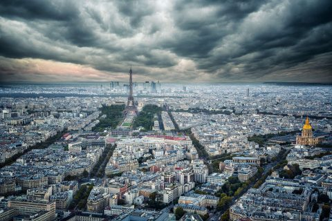 Paris city and Eiffel Tower and city view with stormy sky from Montparnasse