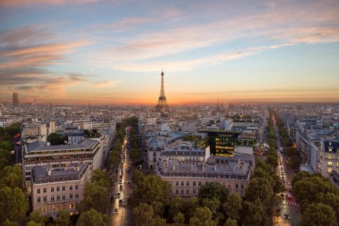 paris rooftops and Eiffel Tower Sunset and boulevards architecture