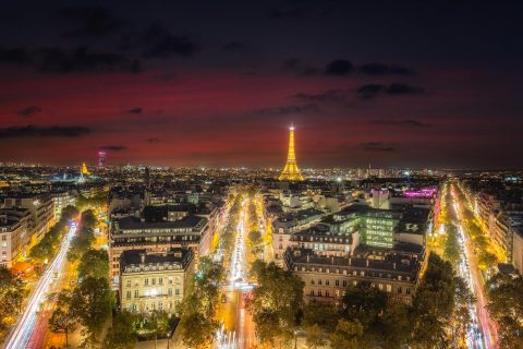paris rooftops and Eiffel Tower red sky Sunset and boulevards architecture