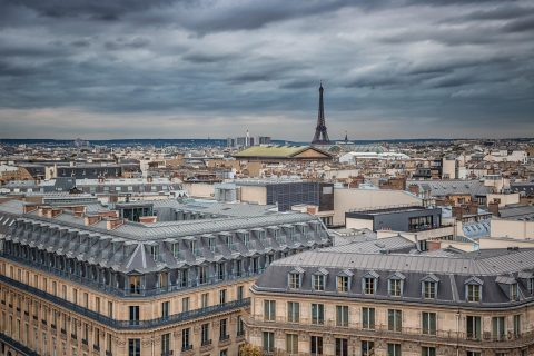 paris rooftops and Eiffel Tower cityscape architecture
