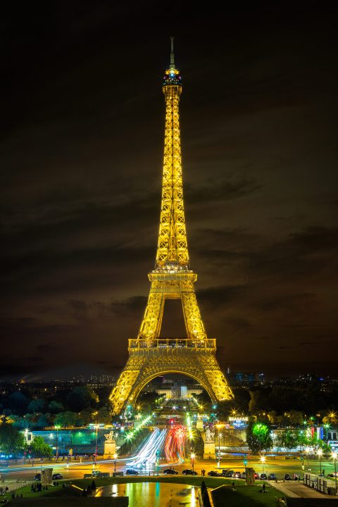 Eiffel Tower at Night in Paris with Lights from Place de Concorde