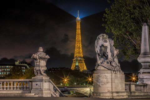 Eiffel Tower and lion statues from Pont Alexandre III