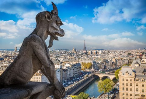 Paris skyline with gargoyle from top of Notre Dame Cathedral