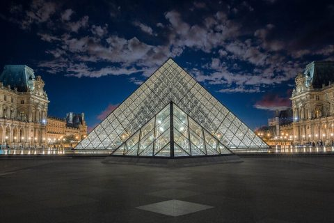 Louvre Museum two pyramids in Paris France