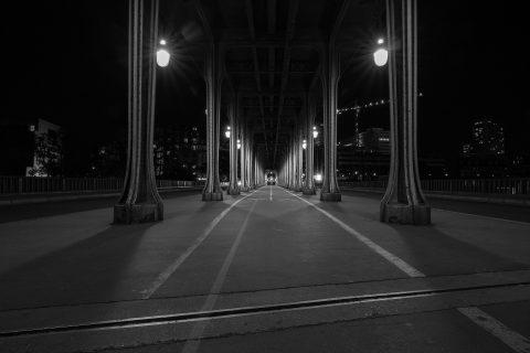 Paris Pont Bir Hakeim Bridge at night in black and white