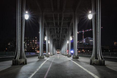 Paris Pont Bir Hakeim Bridge at night