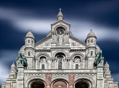 sacre coeur church long exposure with burred sky clouds