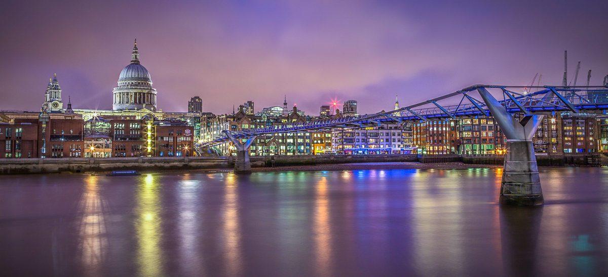 St-Pauls-Cathedral-Millennium Bridge-London-Panorama