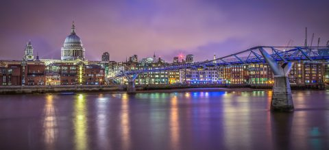 St-Pauls-Cathedral-Millennium Bridge-London-Panorama