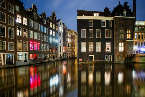 amsterdam Holland Netherlands Dutch red light canal reflections night