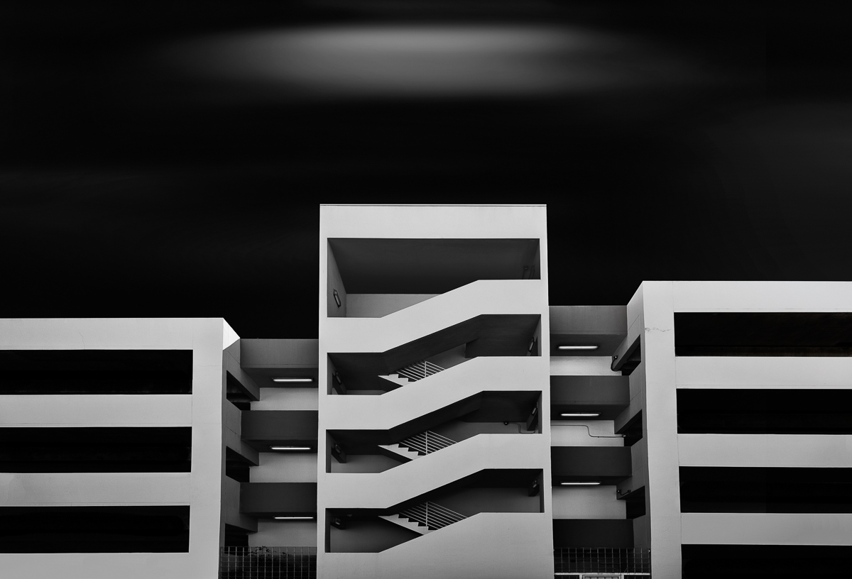 antonyz long exposure architecture modern car park building miami black and white