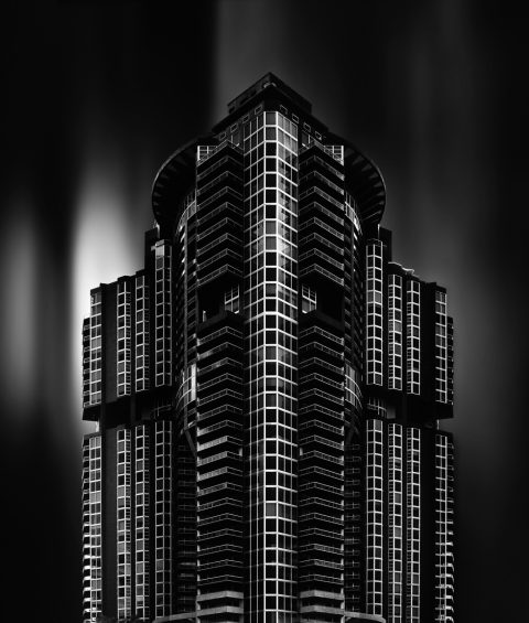 antonyz long exposure architecture modern residential apartment building miami black and white