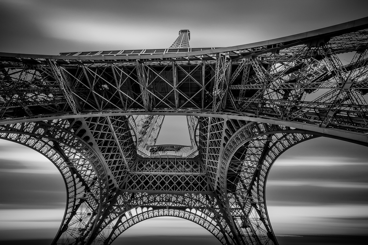antonyz long exposure architecture eiffel tower paris france black and white