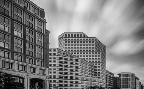 antonyz long exposure architecture canary wharf docklands London black and white