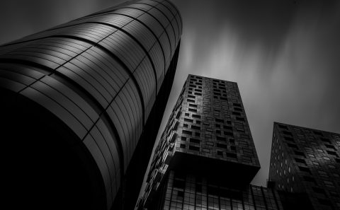 antonyz long exposure architecture modern residential building London black and white