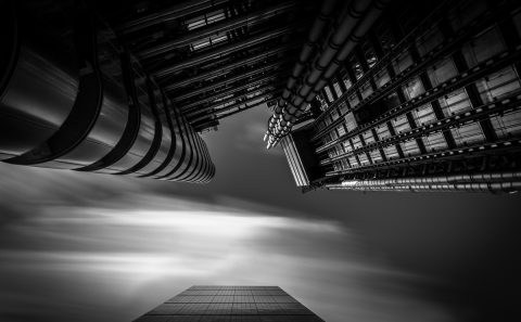 antonyz long exposure architecture modern office building Lloyds London black and white