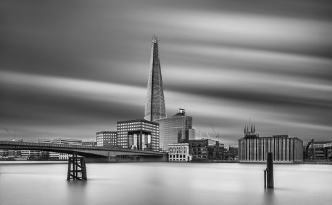 antonyz long exposure architecture skyline London shard river thames black and white